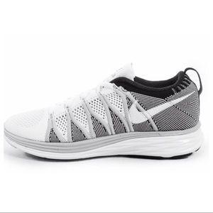 Nike Black & White Flyknit Lunar 2 Athletic Shoes